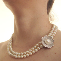 Pearl Necklace,  Wedding jewelry, Bridal Necklace, Pearl jewelry, Multi Strand Pearls,Wedding Pearl Necklace, Pearls, Bridal Pearl Necklace