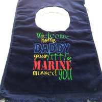 Military Baby Marine Bib Baby Boy or Baby Girl Made to Order Welcome Home