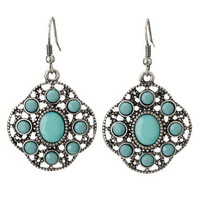 Turquoise Medallion Drop Earrings