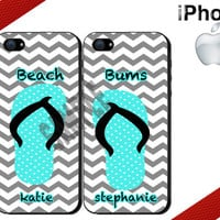 Best Friends iPhone Case - Personalized iPhone 4 Case or iPhone 5 Case - Beach Bums Flip Flops - Two Case Set