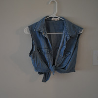 Crop Tie Button Down Denim Tank
