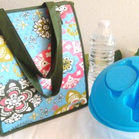 Insulated Large Lunch Tote Bag - with Salad 3PC Container- Flower Stars - Blue