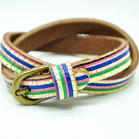 2x wrap Bracelet, Rainbow color leather jewelry bangle cuff, women Beach bracelet  RZ0315