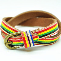 2x wrap Bracelet, Rainbow color leather jewelry bangle cuff, women Beach bracelet  RZ0314