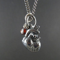 "Anatomical Heart Necklace Small - Oxidized Sterling Silver Anatomical Heart with Sterling Silver Wire-Wrapped Garnet on 24"" Gunmetal Chain"