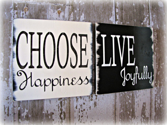Choose Happiness and Live Joyfully Duo by cellardesigns on Etsy