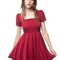 Red Short Sleeve Dress with Stretch Bodice Top
