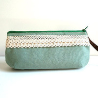 Sweet  light greenl wristlet with removable strap by TinyDaisy