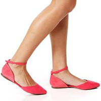 Pink Lemonade Suede/Patent Pointed Flats