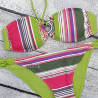 Sour Patch Striped Bikini Bandeau Keyhole Set