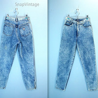 80s Acid Wash Jeans / Palmettos High Waist Jeans / Ankle Zip Denim Jeans