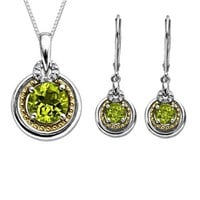 S&G Sterling Silver and 14k Gold Peridot Earrings and Pendant Necklace Set
