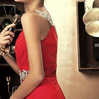 Deep V Hot Red Charming evening Dress from WeiweiK