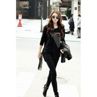 Casual Patchwork O Neck Long Sleeves Black Cotton Straight Mini Dress | Heriet.com