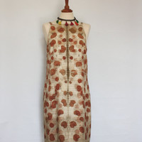 Handmade sleeveless silk dress eco naturally printed by Monika Lamaka of red2white