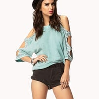 Bejeweled Cutout Sleeve T
