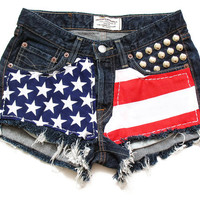 Medium rise denim american flag shorts S