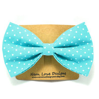 Cyan Blue and White Polka Dot Hair Bow Barrette