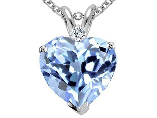 1.77 cttw Tommaso Design(tm) 8mm Heart Shaped Simulated Aquamarine and Genuine Diamond Pendant in 14 kt White Gold