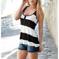 STRIPE TANK WITH SHEER BLACK RACERBACK