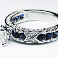 Engagement Ring - Princess Cut Diamond Vintage Engagement Ring  Blue-Sapphire Accents - ES739PR