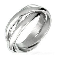 Triple Russian Interlocked Stainless Steel Men Unisex Wedding Band Rings size 10