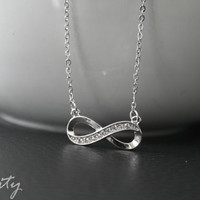 Silver Infinity Necklace with Rhinestones - 18 inches long