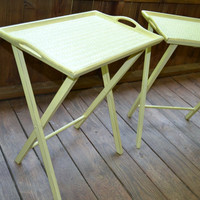 Shabby Chic Wood Tray Folding Side Table Pair Yellow Recycled Upcycled