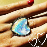 metallic rainbow prism heart ring - silver and color shift shimmer summer nights and shootings stars