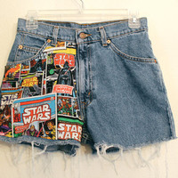 star wars high waisted shorts 27 inches