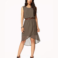 Georgette Shift Dress w/ Belt