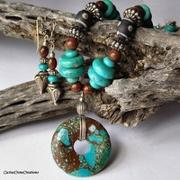 Turquoise Magnesite , Snowflake and Mahogany Obsidian Necklace Set