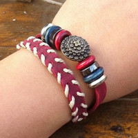 Lovely Metal Flower Leather Woven Bracelet, Wrap Bracelet,  Women Leather Jewelry Bangle Cuff Bracelet  E3033
