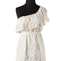 Esmerelda One Shoulder Lace Dress - Ivory -  $48.00 | Daily Chic Dresses | International Shipping