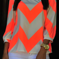 Wild Wide Chevron Top: Neon Orange | Hope's