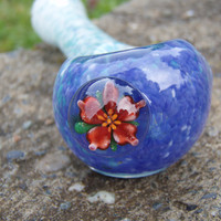 Glass Pipe Flower Marble Frit Spoon by BeezyGlass on Etsy