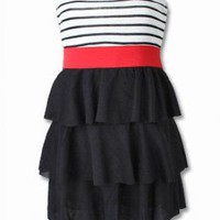 SWEET GIRL PIN UP STRIPE FRILL DRESS