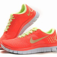 Nike Free Run 4.0 Women's Running Shoes Crimson/Lemon/Platinum