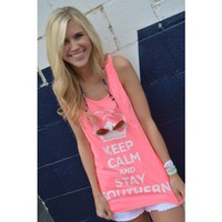 Unisex Keep Calm and Stay Southern Tank Top in Neon Pink