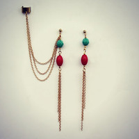 coral and turquoise ear cuff and earrings, chain ear cuff, ear cuff with gold chains, asymmetrical earrings