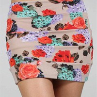 Tan Floral Print Skirt