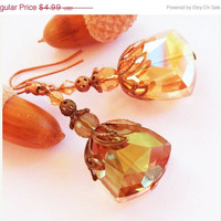 ON SALE Lovely topaz crystal bridesmaid bronze brass fligree leaf earrings- affordable luxe gift
