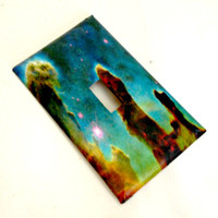 Single Light Switch Plate Cover--Pillars of Creation / Galaxy Space / galaxy decor, galaxy decoration / space decoration /  nebula / stars