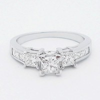 14K White Gold Princess Cut Classic Diamond Engagement Promise Ring ( 1.35 ct.tw, H Color, SI2 Clarity )