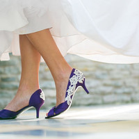 Wedding Shoes - Purple Wedding Heels, Purple Heels with Ivory Lace. US Size 9