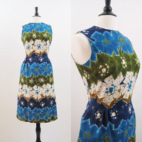 60s 70s Dress Vintage Hawaiian Barkcloth Batik Print Summer Dress L XL