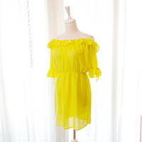 Lemon Yellow Chiffon Sexy Off Shoulder Dress Party by miadressshop