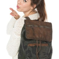 Brandy ♥ Melville |  Washed Camo Leather Flap Backpack - Just In
