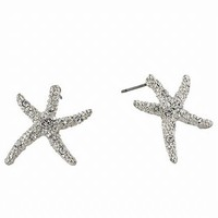 Small Silvertone Starfish Crystal and Rhinestone Stud Earrings Fashion Jewelry