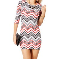 Coral Zig Zag Aztec Scuba Dress